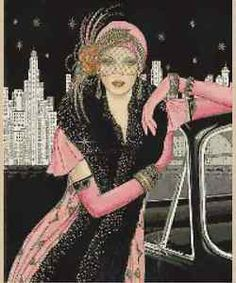 Cross-Stitch-ChartART-DECO-LADY-PINK-DRESS-LEANING-ON-CAR-CITY-BACKGROUND-6VB-43