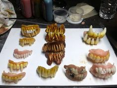 Scot used Plastimake to create these gruesome costume fangs. Plastic Items, Biodegradable Products, Diy Projects, Costume, Create, Easy, Desserts, Food, Tailgate Desserts