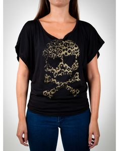 Leopard Skull V-neck Junior Fitted Tee  $24.99