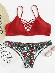 1171d93f782f3 Floral Print Crisscross Bikini Set -SheIn(Sheinside)