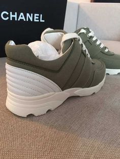 NIB Chanel 2017 khaki fabric trainers EU size 39 #CHANEL #Fashionsneakers