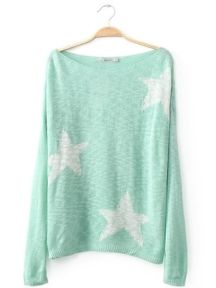 Long Sleeve Star Print Knit Sweater