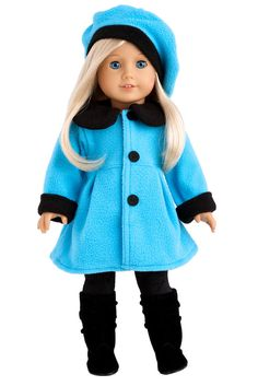 Parisian Stroll - Clothes for 18 inch Doll - Blue Fleece Coat with matching…