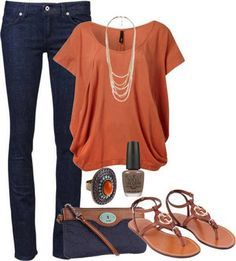 Cute top with skinny jeans. But I need heels, too short for flats.