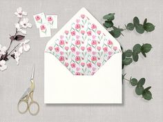 Your place to buy and sell all things handmade Love Design, Floral Design, Design Ideas, Watercolor Wedding, Floral Watercolor, Printable Wedding Envelopes, Diy Envelope Liners, How To Make An Envelope, Hand Painted