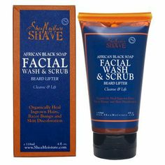 Shea Moisture Shave Cleanse & Lift Beard Lifter African Black Soap Facial Wash & Scrub 4-oz.