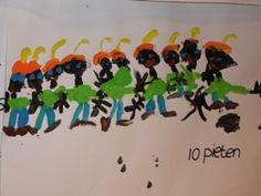 Schilder 10 Zwarte Pieten op een vel papier. Zorg dat ze er allemaal opkomen en laat de kinderen zelf passen en meten en tot een oplossing komen.