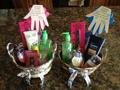 'Hands Down' you're the best teacher around! For the girl teachers include hand soap, anti bacterial lotion, hand lotion, nail polish, a manicure set, some nail files.