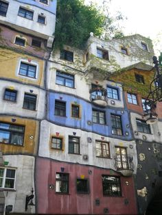 Hundertwasser house - Vienna. I wonder what the inside looks like...
