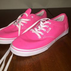 7.5 Hot Pink Vans 7.5 pink vans. worn once for maybe 20 minutes. My dog ate the plastic tips off the ends, but you could easily replace the laces for super cheap Vans Shoes Sneakers