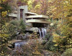 Les maisons d'architectes a visiter : La Maison sur la cascade (ou Fallingwater) de Frank Lloyd Wright