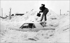 Vintage Mustang buried in Snow