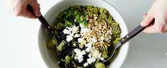 olives, feta, pine nuts, mustard dressing pasta salad