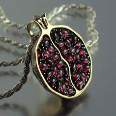 Grim Reaper:  #Pomegranate silver and bronze garnet pendant, Natalia Moroz.