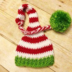 b5547a227a2 Handmade Knit Crochet Santa Elf Hat