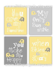 Yellow and Grey Nursery Ideas | Yellow and Gray Art for Kids Elephant Art, You are my sunshine 4-8x10 ...
