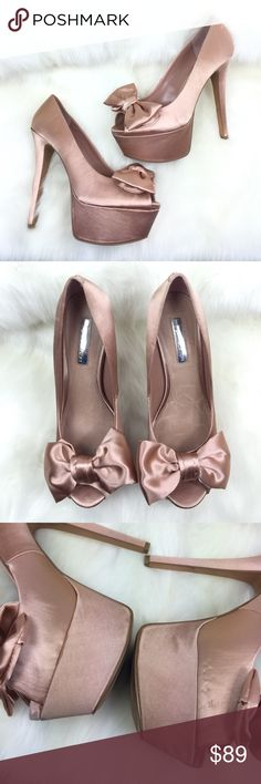H BY HALSTON  SATIN SATEEN PLATFORM HEELS , 9 Absolutely adorable!  Platform heels with fabric upper that I would describe similar to a satin or sateen.  Blush tone champagne pink!  Soles are in GREAT condition.  Wear and minor tear to the fabric itself with some minor puckering of the fabric here and there and with some small fabric snags.  This does not detract the beauty of the heels themselves.  BEAUTIFUL!!!  AX2016 H by Halston Shoes Platforms