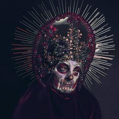 'Santa Muerte' my headpiece by @marcin_nagraba and his mum as a model ❤ #agnieszkaosipa #headpiece #costume #headgear #crown #kokoshnik #muerte #ghotic #santa #portrait #darkart #dark #makeup #art #jewellery #embroidery #ornaments #handmade #beading #crystals #pearls #death