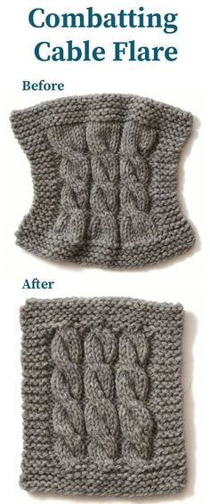 Combating Cable Flare for Knitting Patterns - I need these tips! I love knitting cables but hate the way they can distort the shape when I switch to non-cable edges. This article gives tips for a variety of situations.