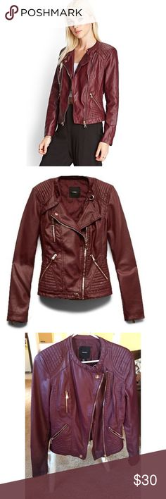 NEVER WORN Forever 21 Faux Leather Moto Jacket Never worn, new without tags in, and perfect condition! This beautiful burgundy moto jacket from Forever 21 with gold detailing is super stylish and surprisingly comfy! It goes with just about anything and is totally chic! I would pair it with a cute top, a pair of ankle boots and some skinny jeans. No matter what you wear it with, you'll turn a lot of heads and you'll feel great too! Forever 21 Jackets & Coats