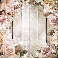 fondo romántico vintage de boda con rosas — Foto stock © o_april ...