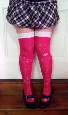 Winter is here! These upcycle stockings came from a very old, child-sized pair of woolen stockings and are now my favourite thigh-high socks! Go Pink, Pastel Pink, Thigh High Socks, Thigh Highs, Thunder Thighs, Blue Streaks, Purple Skirt, Winter Is Here, Off White Color