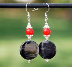 Handmade Women's Jewelry  https://www.etsy.com/listing/233493371/black-and-grey-shell-earrings-red-agate