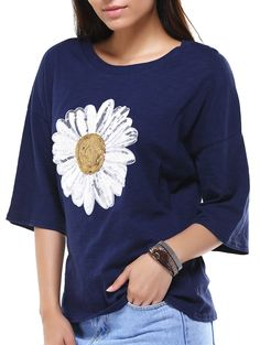 Stylish Round Neck 3/4 Sleeve Sun Flower Sequins T-Shirt For Women