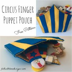 Circus Finger Puppet Pouch Tutorial + Free Pattern {Felt With Love Designs}