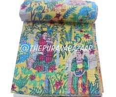 Indian Handmade Frida Cotton Kantha Quilt Tween Bedspreads Throw Frida Kahlo Printed Blanket Bohemian Bedspread Handmade Quilt 60X90 inch Cotton Bedding, Cotton Quilts, Cotton Throws, Cotton Fabric, Bohemian Bedspread, Kantha Stitch, Fabric Remnants, Kantha Quilt, Bed Covers
