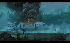 Falling Plane, Majed Al Harbi on ArtStation at https://www.artstation.com/artwork/KJGZo