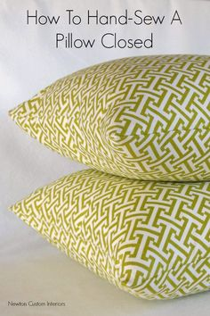 How To Hand-Sew A Pillow Closed from NewtonCustomInteriors.com.  Learn how to hand-sew the pillow you've made with this detailed video tutorial.