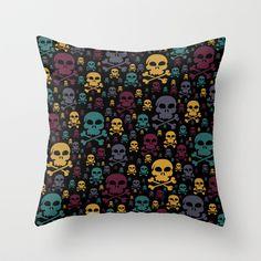 Skulls Throw Pillow - $20.00. Worldwide shipping available at Society6.com. #cushion #pillow #skulls #skullandcrossbones #teal #yellow #plum #homedecor #dorm