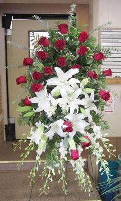Casket Flowers, Altar Flowers, Church Flowers, Funeral Flowers, Funeral Floral Arrangements, Unique Flower Arrangements, Ikebana, Funeral Sprays, Memorial Flowers