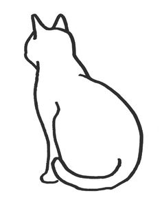 Simple Cat Drawing, Black And White Art Drawing, Cat Outline, Cat Template, Cat Tattoo Designs, Cat Sketch, Cat Quilt, Cat Silhouette, Dog Tattoos