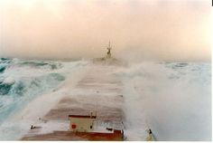 Great lakes freighter in storm