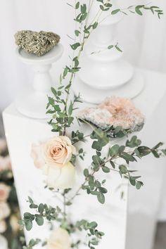 Rose quartz wedding inspiration: http://www.stylemepretty.com/2017/04/25/rose-quartz-crystals-wedding-inspiration/ Photography: Rhythm - http://rhythm-photography.com/