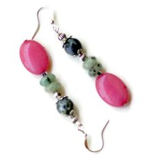 Hot Pink Mint Grey Dangle Earrings/ Natural by ALFAdesigns on Etsy, $10.99
