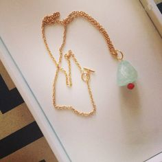 Aquamarine and Red Czech Glass Bead Pendant by RaquelDoloresDesign