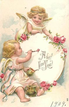 Angels Vintage New Year Postcard - Happy New Year 2019 Vintage Greeting Cards, Vintage Christmas Cards, Vintage Holiday, Vintage Postcards, Vintage Ephemera, Vintage Pictures, Vintage Images, Images Victoriennes, Vintage Happy New Year