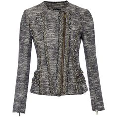 Michael Michael Kors Tweed motorcycle jacket with chain detail (£325) found on Polyvore