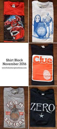 November's Shirt Block had exclusive geek t-shirts featuring Power Rangers, The Walking Dead, Clue and more! Check out our review and save 15% off your 1st geek t-shirt monthly box! http://www.findsubscriptionboxes.com/a-closer-look/november-2016-shirt-block-review/?utm_campaign=coschedule&utm_source=pinterest&utm_medium=Find%20Subscription%20Boxes&utm_content=November%202016%20Shirt%20Block%20Review%20%2B%20Coupon  #ShirtBlock