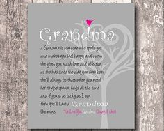 Gift For Grandma From Grandkids Personalized Art Print We Love You Birthday Home Any Color Available