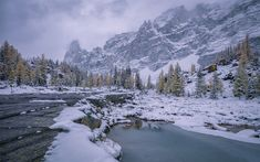 Download wallpapers mountain river, winter, snow, rocks, mountain landscape, fog, Yoho National Park, Canada