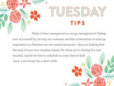 Good happy Tuesday Tips to everyone!  This month is about time management.  We are sharing little tips to help you on your way to kicking that to do list in the booty!  http://www.everythingbloom.com/tuesday-tips-172-%C2%B7-time-management