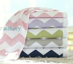Love the Chevron Stroller Blanket from Pottery Barn Kids, the personalization & print give it a perfectly preppy look!