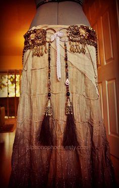 Tribal Horsehair Tassels- Khal Drogo- Kuchi Beads, Real Horse Hair, Vintage Gems.