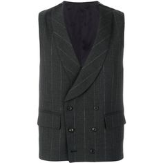 Gabriele Pasini Wool Waistcoat (€300) ❤ liked on Polyvore featuring men's fashion, men's clothing, men's outerwear, men's vests, grey, mens pinstripe vest, mens wool outerwear, mens gray vest, mens wool vest and mens waistcoat vest