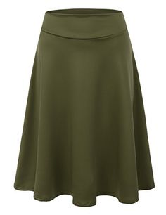 9538618566e Doublju Elastic High Waist A-Line Flared Midi Skirt For Women With Plus Size  (Made In USA) OLIVE LARGE
