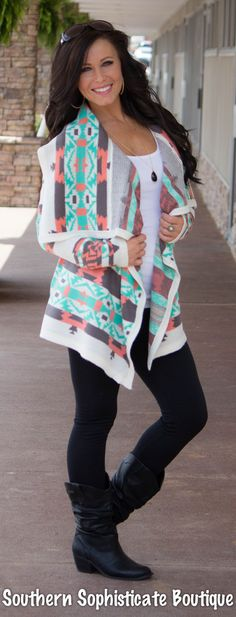 Coral/Grey Aztec Print Cardigan